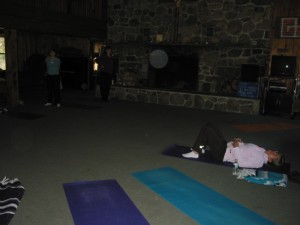 Getting ready for vinyasa yoga on Saturday morning